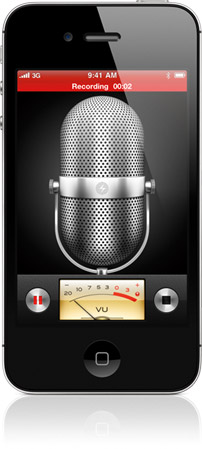 Iphone 4 S Black Color Front View Vertical Showing Voice Memo Feature - Capture memos via audio recording