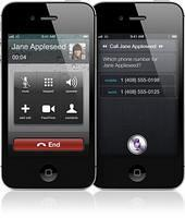 Iphone 4 S Black Color Front View Vertical Showing Tap or Speak to call feature