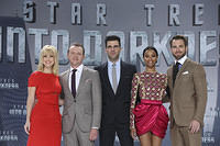 Alice Eve, Simon Pegg, Zachary Quinto, Zoe Saldana and Chris Pine attend Star Trek Into Darkness Premiere at CineStar