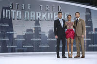 Zachary Quinto, Zoe Saldana and Chris Pine attend the Star Trek Into Darkness Premiere at CineStar